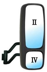 Зеркало правое в сборе с кронштейном верхнее и нижнее механическое с подогревом для Вольво Фн / Фм / Volvo Fh / Fm