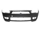 Бампер передний грунтованный с отверстиями под спойлер для Митсубиси Лансер / Mitsubishi Lancer 10