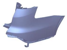 Боковина заднего бампера правая грунтованная  для Форд Фокус / Ford Focus - 3 Поколение