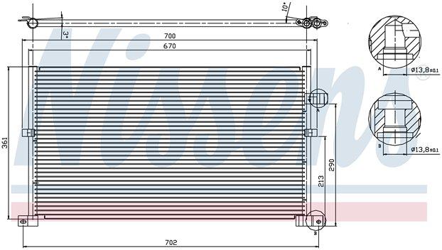 КОНДЕНСАТОР (РАДИАТОР) КОНДИЦИОНЕРА (670x361mm)