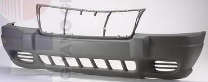 Передний бампер с отверстиями под противотуманки темно-серый для Джип Гранд Чероки / Jeep Grand Cherokee - 2 Поколение Wj Wg